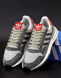 Мужские кроссовки Adidas ZX 500 RM Commonwealth Grey (Адидас ЗХ серые)