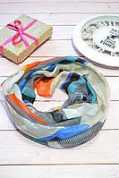 Терракотовый шарф снуд с блестками геометрическим узором Lullaby, фото 1