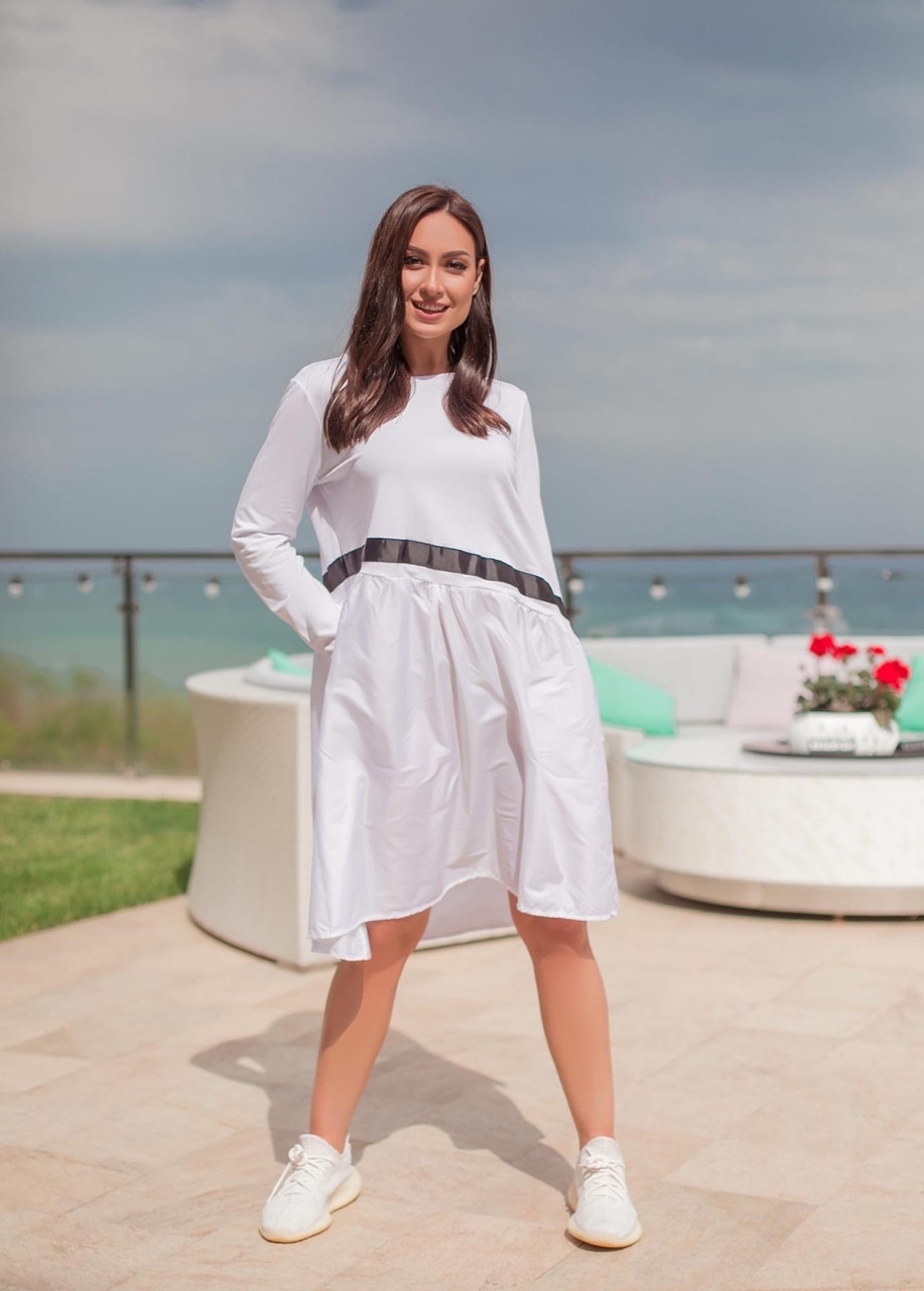 Сукня комбіноване з двох тканин спортивного стилю з кишенями, р. 54-58,60-64 код 1225Х