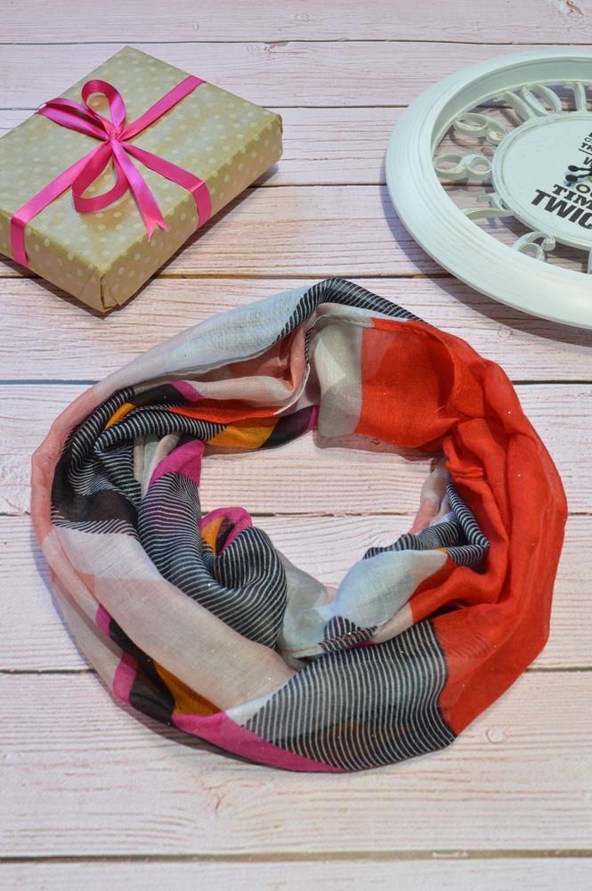 Красный шарф снуд с блестками геометрическим узором Lullaby