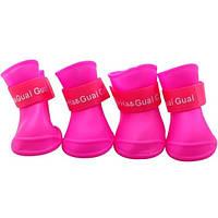Непромокальні гумові чоботи для собак, рожевий, гумове взуття для собак дрібних, середніх, великих порід