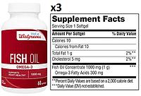 Walgreens, Рыбий жир, Омега-3, 1000 мг, 180 капсул (05.20)