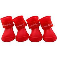 Непромокальні гумові чоботи для собак, червоний, гумове взуття для собак дрібних, середніх, великих порід
