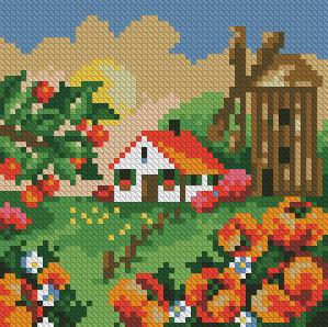 Алмазная мозаика Летний пейзаж 15x15см DM-024 Полная зашивка. Набор алмазной вышивки