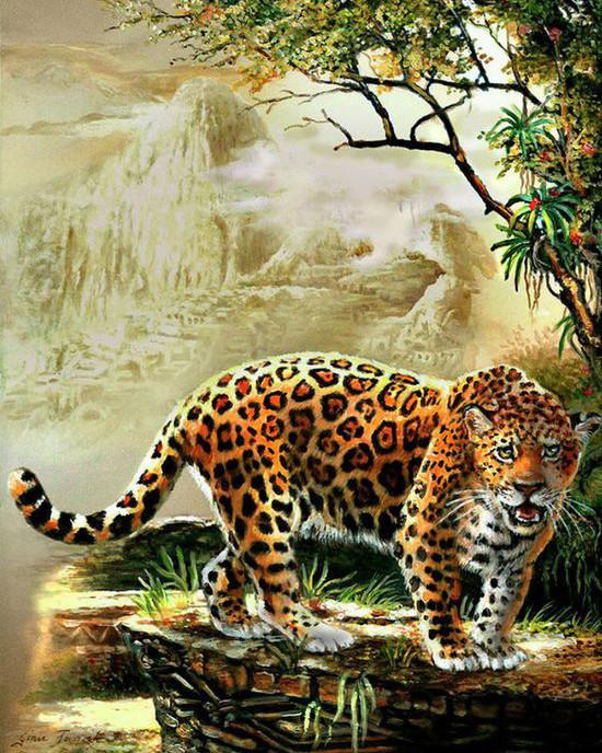 Алмазная мозаика Леопард 40x50см DM-063 Полная зашивка. Набор алмазной вышивки