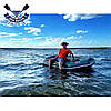 Надувная лодка Ладья ЛТ-240БВТ с жестким дном слань-книжка ТРАНЦЕМ и брызгоотбойником двухместная, фото 5