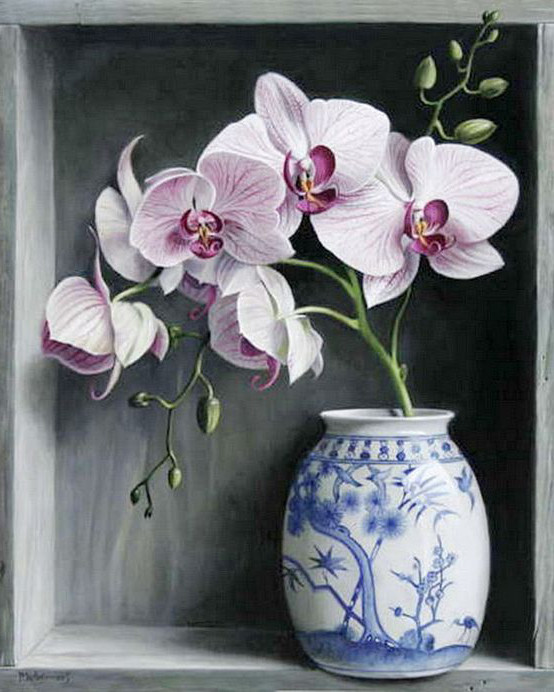 Алмазная мозаика Орхидеи в вазе 40x50см DM-112 Полная зашивка. Набор алмазной вышивки
