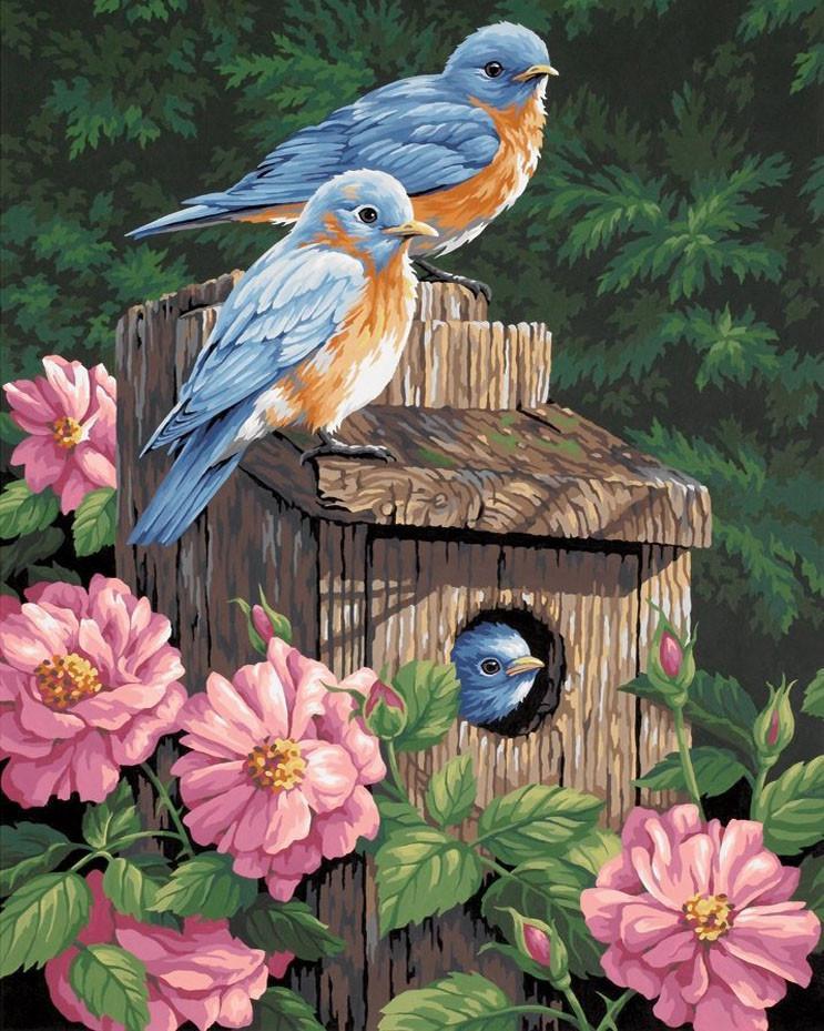 Алмазная мозаика Птичий дом в пионах 40x50см DM-117 Полная зашивка. Набор алмазной вышивки