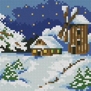 Алмазная мозаика Зимний пейзаж 15x15см DM-021 Полная зашивка. Набор алмазной вышивки