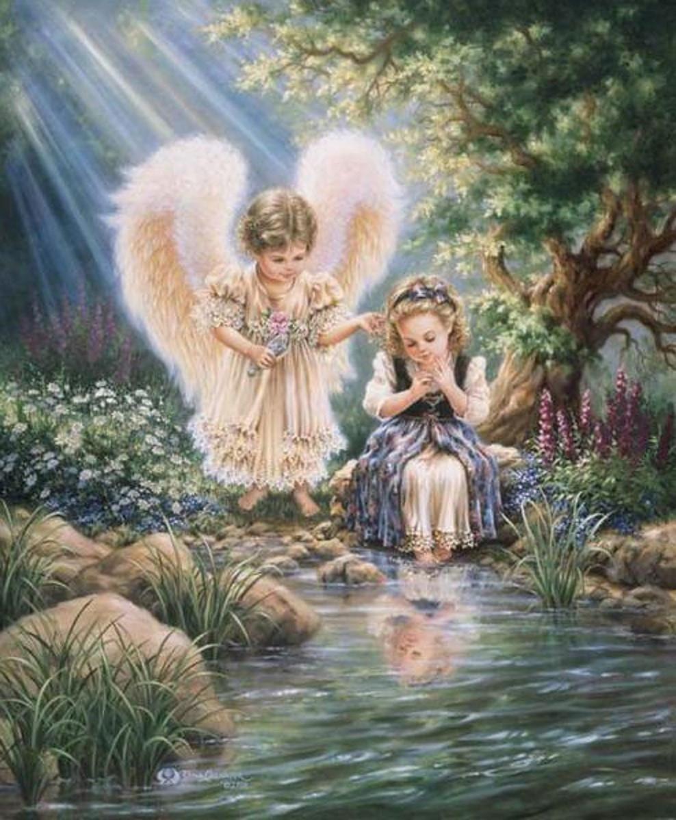 Алмазная мозаика Ангелы у ручья 50x60см DM-138 Полная зашивка. Набор алмазной вышивки