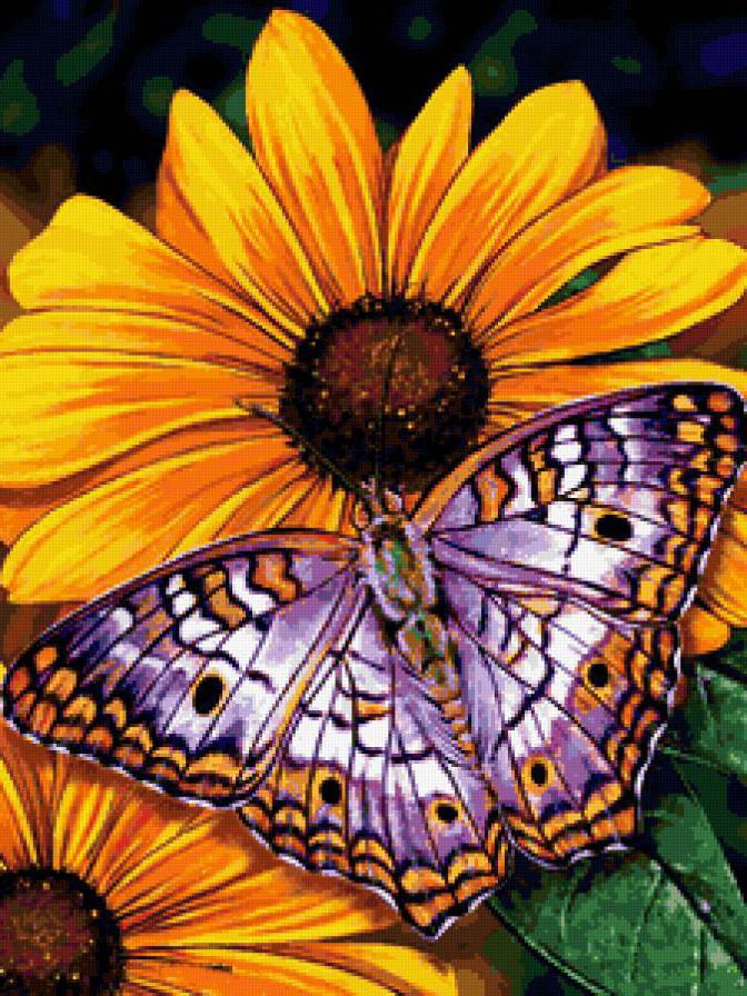 Алмазная мозаика Бабочка на цветке 2 30x40см DM-177 Полная зашивка. Набор алмазной вышивки