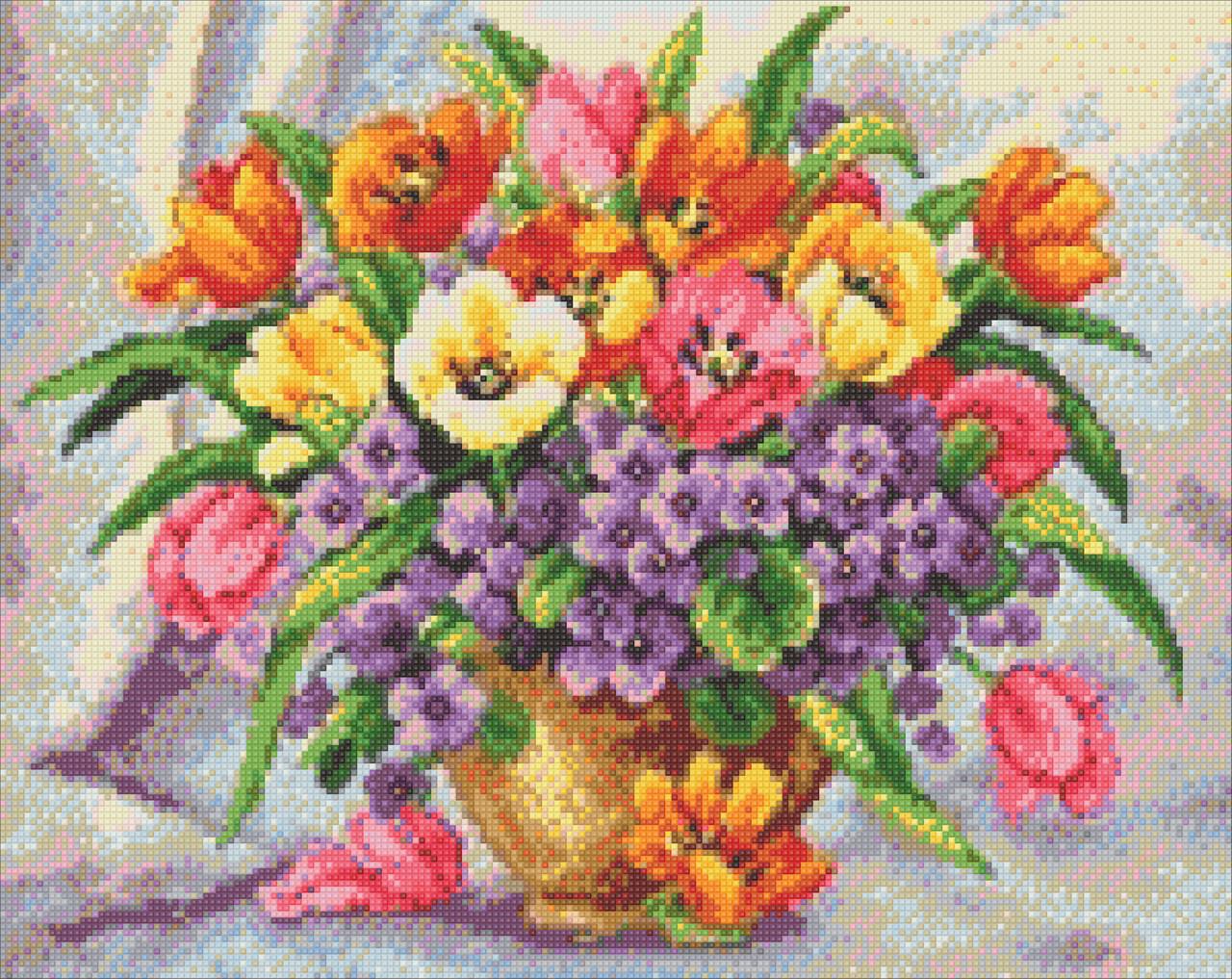 Алмазная мозаика Яркие тюльпаны 50x40см DM-200 Полная зашивка. Набор алмазной вышивки