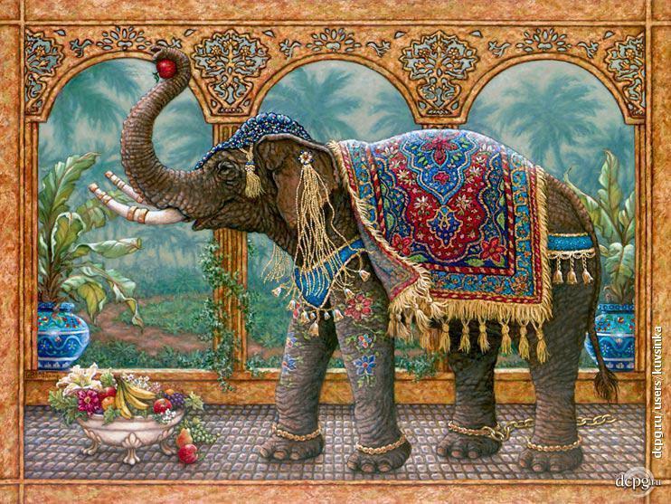 Алмазная мозаика Индийский слон DM-188 50x40см Полная зашивка. Набор алмазной вышивки