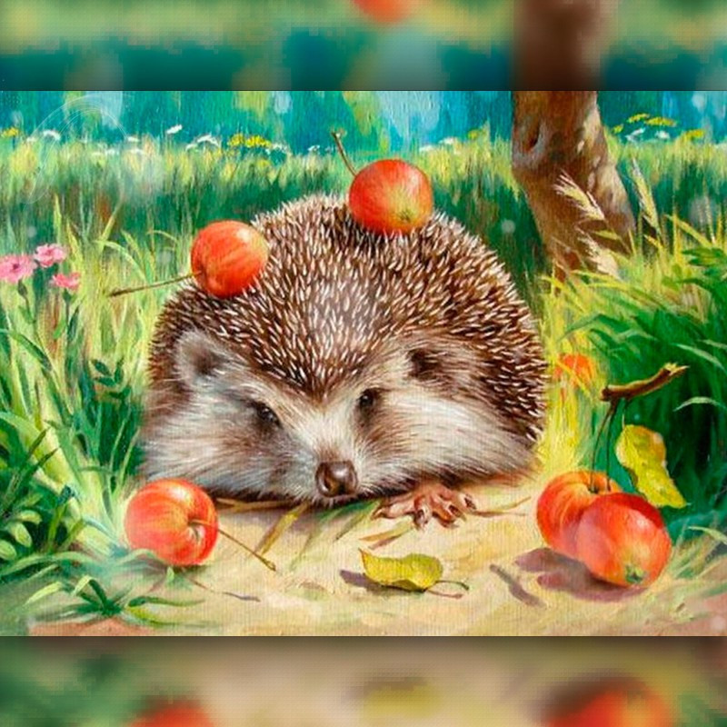 Алмазная мозаика Ёжик с яблоками 30x40 TWD20034 The Wortex Diamonds Полная зашивка