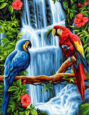 Алмазная мозаика Попугаи у водопада DM-332 30х40см Полная зашивка. Набор алмазной вышивки пейзаж птицы попугаи