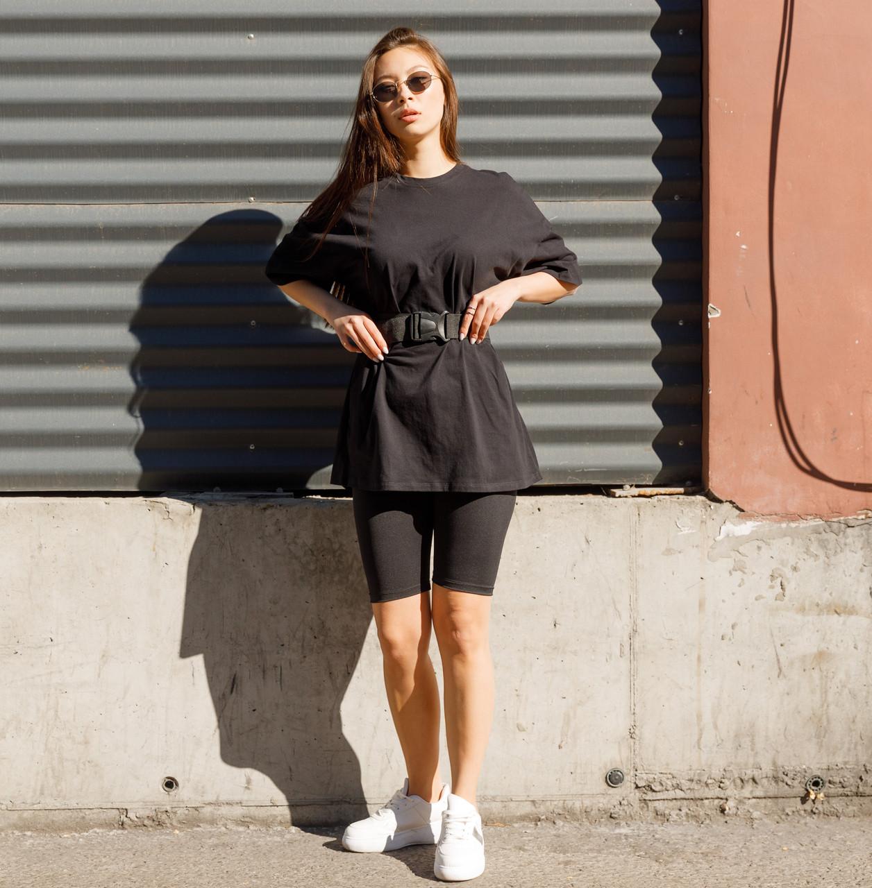 Комплект женская чёрная футболка оверсайз модель Квил (Quill)+ чёрные велосипедки + ремень размер  S, M, L