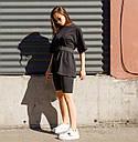 Комплект женская чёрная футболка оверсайз модель Квил (Quill)+ чёрные велосипедки + ремень размер  S, M, L, фото 2