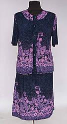 Летний женский костюм двойка блуза с юбкой (52-64 р)