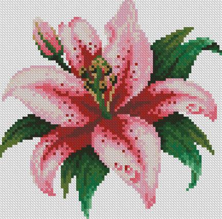 Алмазная мозаика Розовая лилия 22x22см DM-015 Полная зашивка. Набор алмазной вышивки