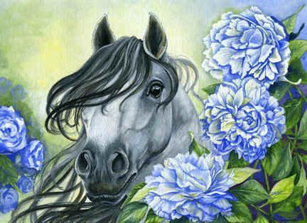 Алмазная мозаика Лошадь в цветах DM-191 40x30см Полная зашивка. Набор алмазной вышивки