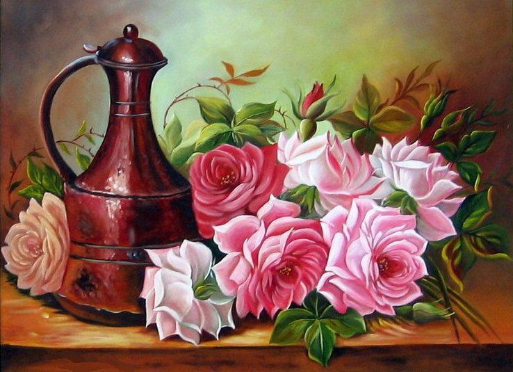 Алмазная мозаика Садовые розы DM-237 40x30см Полная зашивка. Набор алмазной вышивки