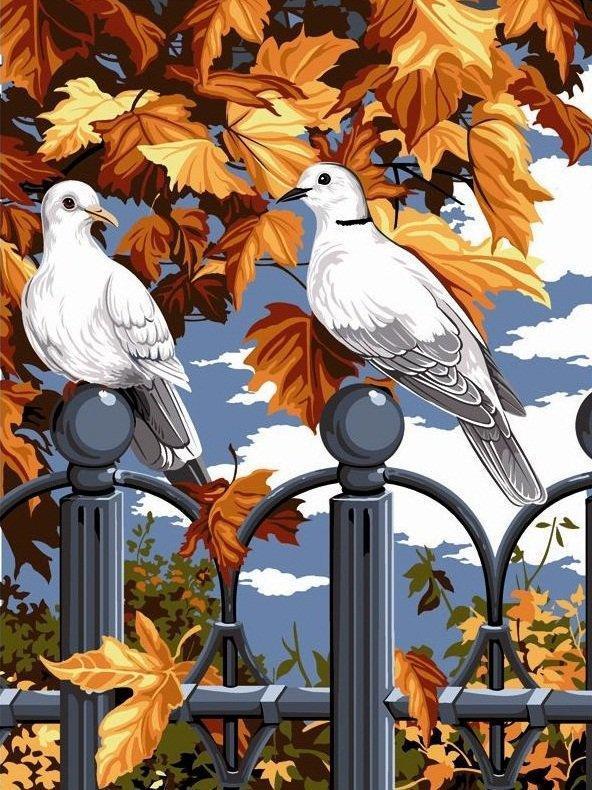 Алмазная мозаика Пара голубей DM-253 30x40см Полная зашивка. Набор алмазной вышивки