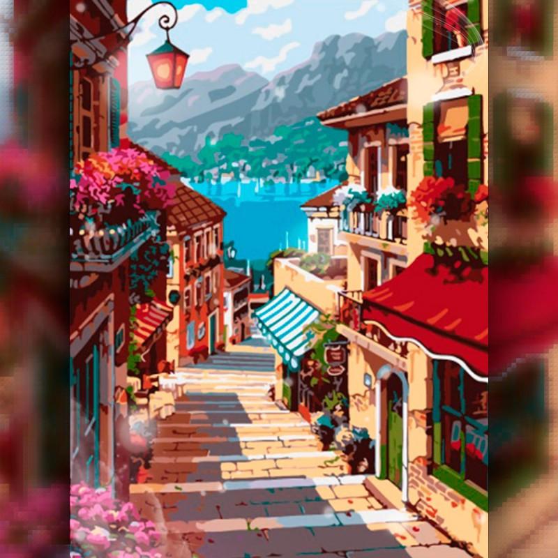 Алмазная мозаика Улица в красных тонах 30x40 TWD30014 The Wortex Diamonds Полная зашивка