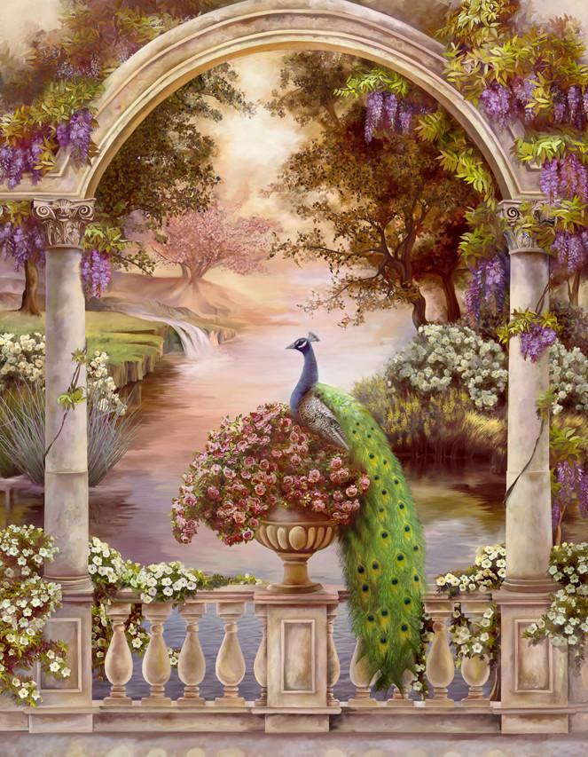 Алмазная мозаика Павлины в арке DM-301 40х50см Полная зашивка. Набор алмазной вышивки. Птицы, животные
