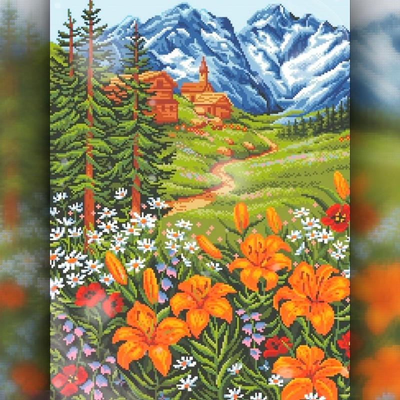 Алмазная мозаика Горные цветы 30x40 TWD30034 The Wortex Diamonds Полная зашивка