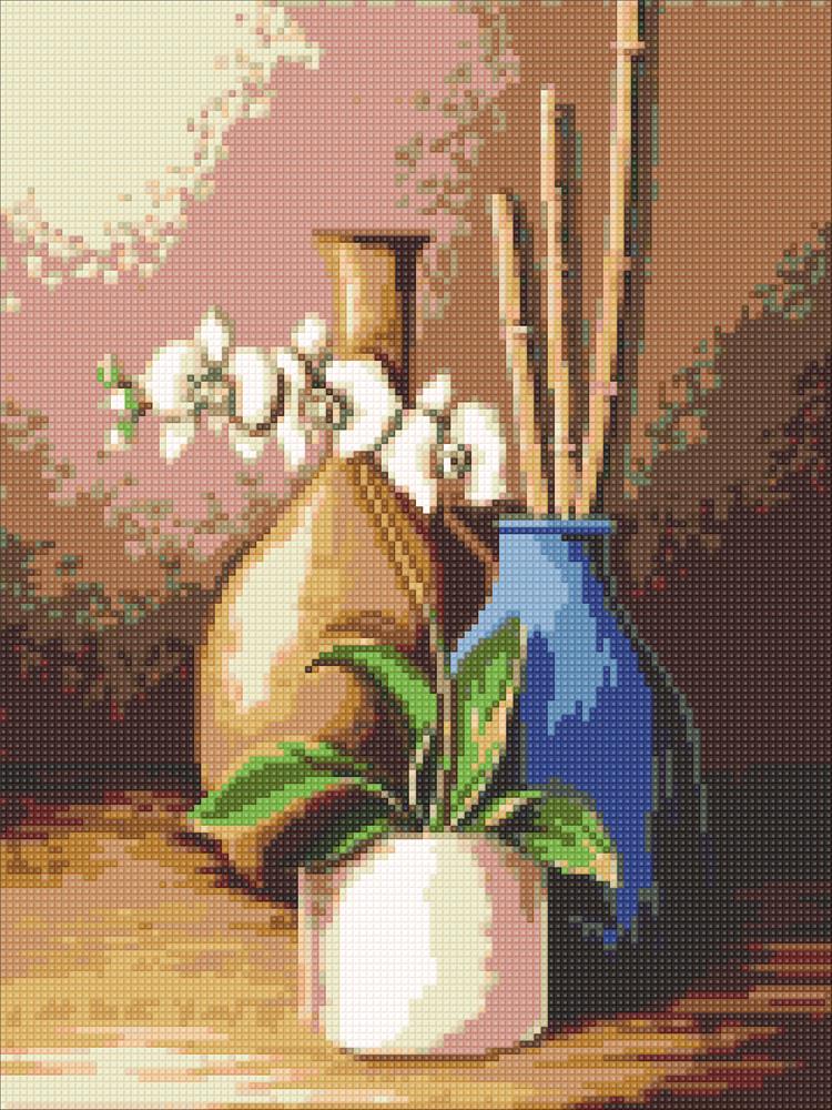 Алмазная мозаика Белая орхидея DM-310 30х40см Полная зашивка. Набор алмазной вышивки натюрморт