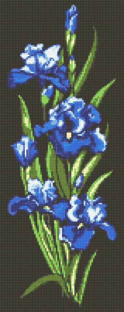 Алмазная мозаика Синие ирисы DM-325 20х50см Полная зашивка. Набор алмазной вышивки цветы