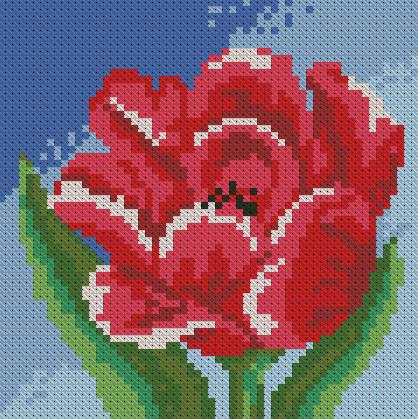 Алмазная мозаика Маленький тюльпан 15x15см DM-019 Полная зашивка. Набор алмазной вышивки