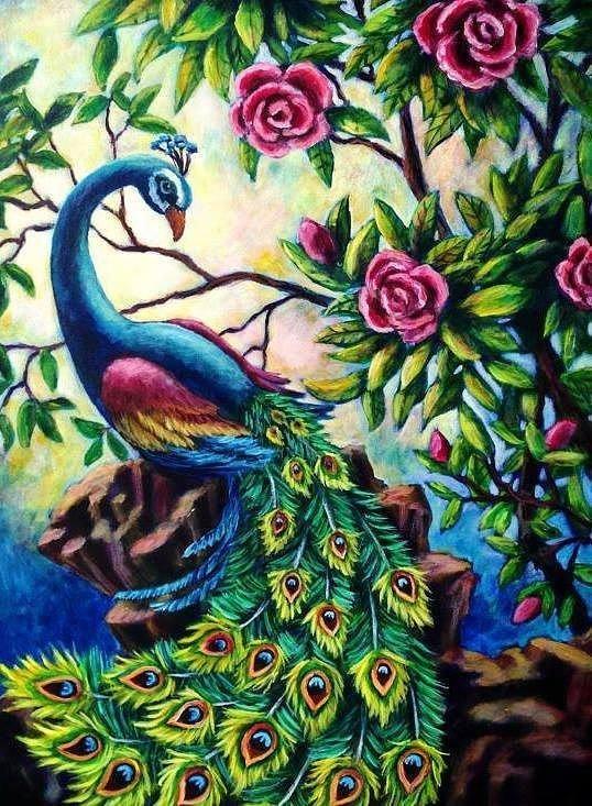 Алмазная мозаика Павлин в цветах DM-298 40х50см Полная зашивка. Набор алмазной вышивки. Птицы, животные