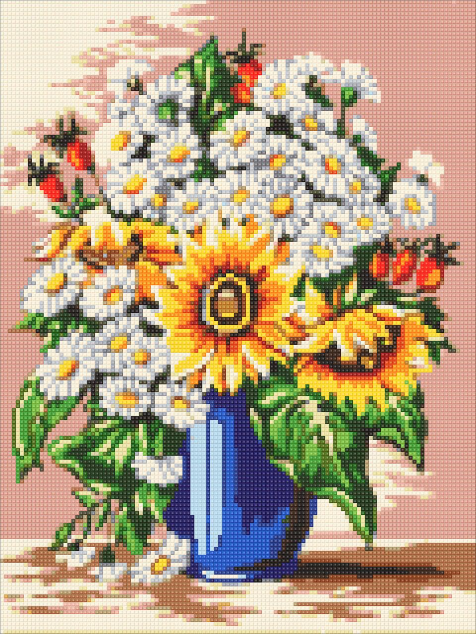 Алмазная мозаика Букет ромашек и подсолнухов DM-306 30х40см Полная зашивка. Набор алмазной вышивки цветы