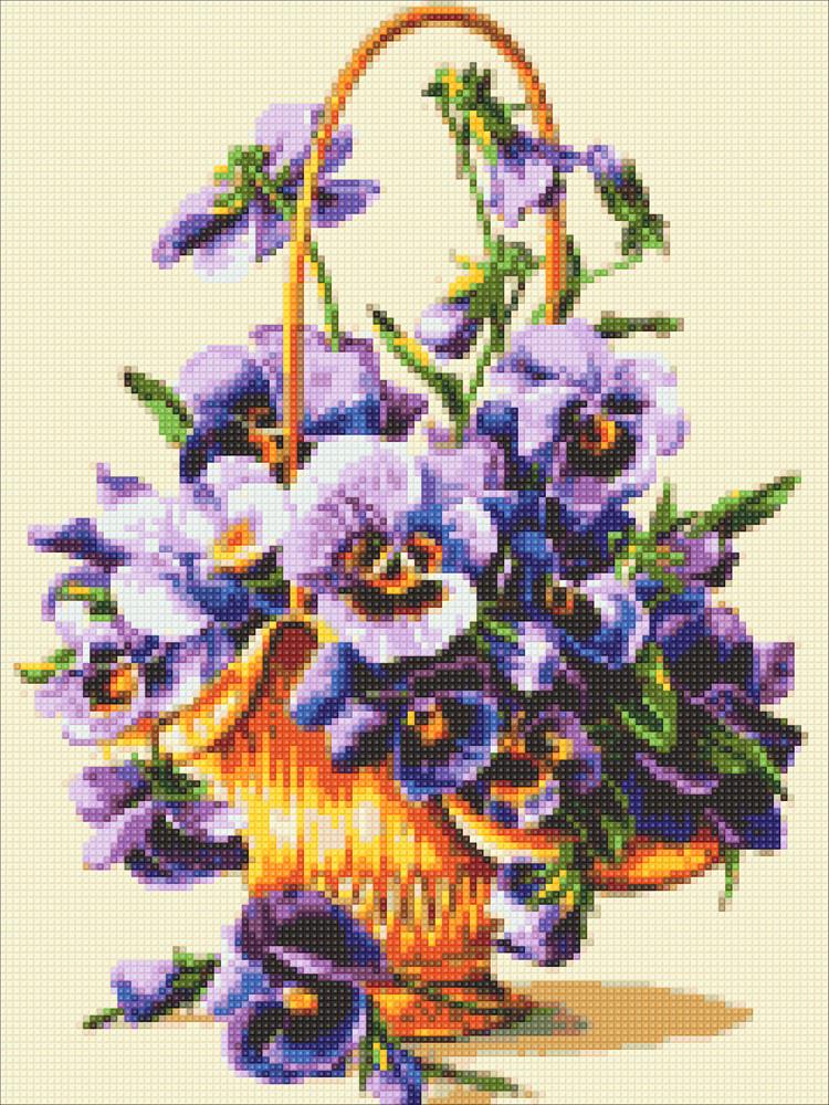 Алмазная мозаика Анютины гразки DM-315 30х40см Полная зашивка. Набор алмазной вышивки цветы