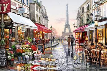 Алмазная мозаика Улочка Парижа DM-328 60х40см Полная зашивка. Набор алмазной вышивки город пейзаж