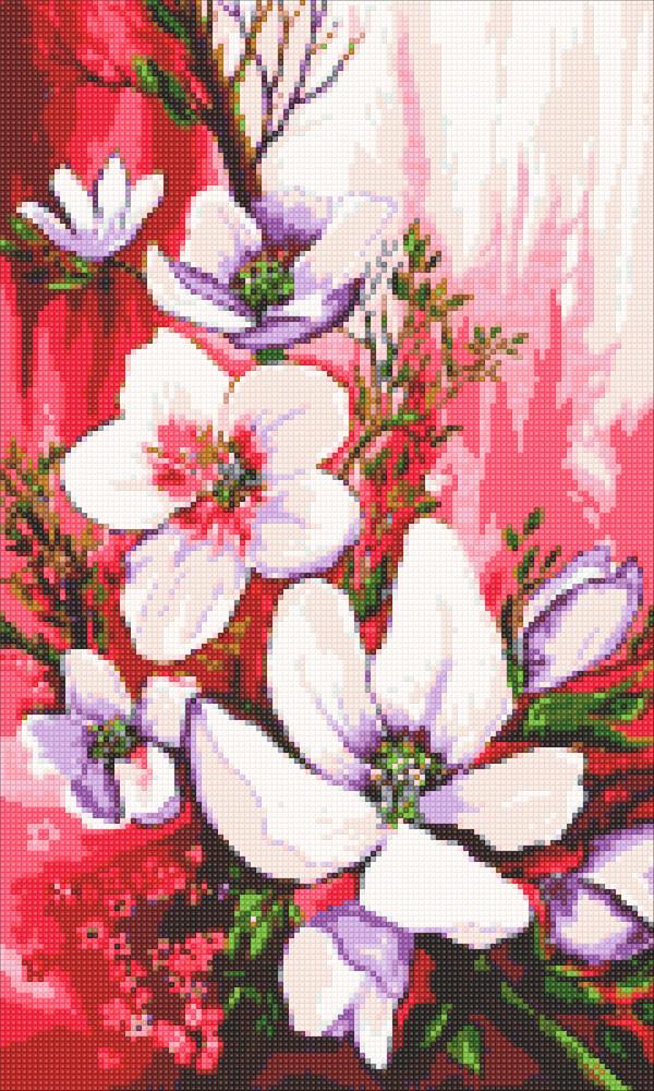 Алмазная мозаика Ветвь магнолии DM-322 30х50см Полная зашивка. Набор алмазной вышивки цветы