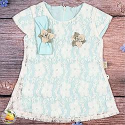 """Летнее платье и повязка для маленькой девочки """"Бирюза"""" Размеры: 6,9,12 месяцев (20354-1)"""
