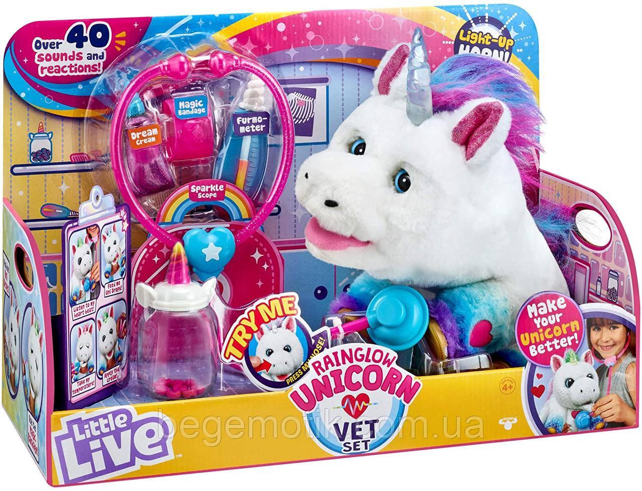 Интерактивный единорог Полечи меня ветеринар Moose Little Live Rainglow Unicorn Vet Set