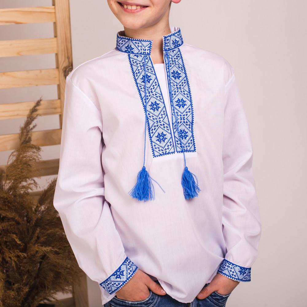Сорочка вишита синіми нитками хрестиком Остап