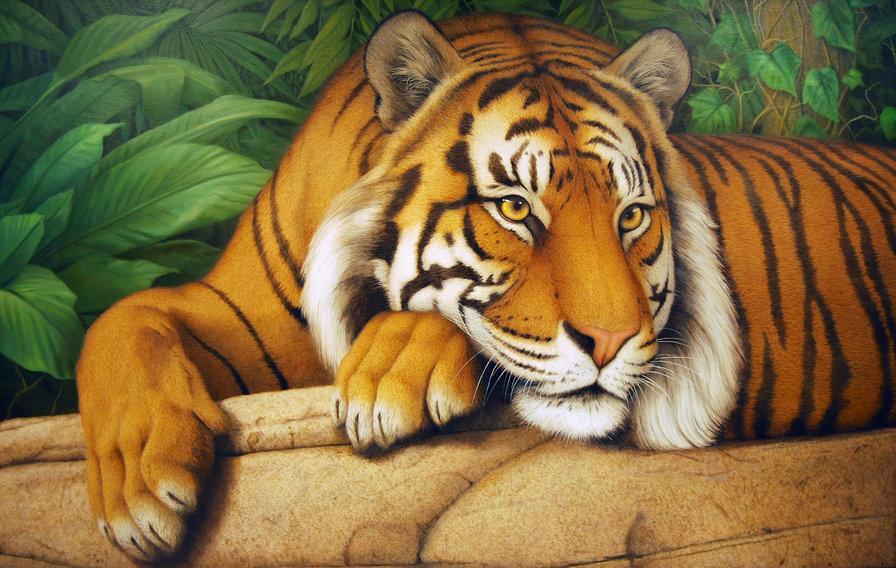 Алмазная мозаика Мудрый тигр DM-289 50х30см Полная зашивка. Набор алмазной вышивки