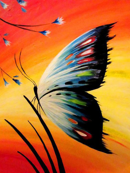 Алмазная мозаика Бабочка на закате 30x40см DM-183 Полная зашивка. Набор алмазной вышивки