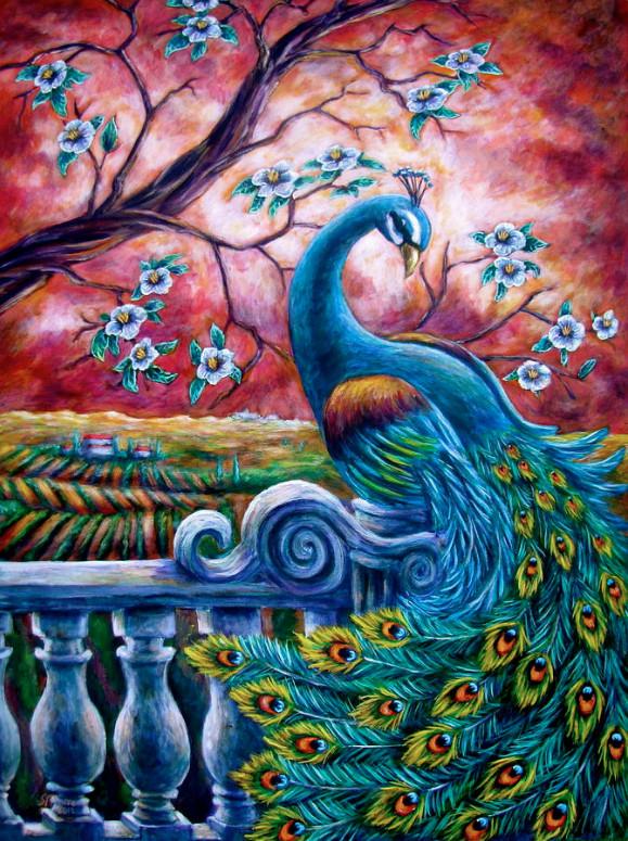 Алмазная мозаика Павлин на закате DM-304 40х50см Полная зашивка. Набор алмазной вышивки. Птицы, животные