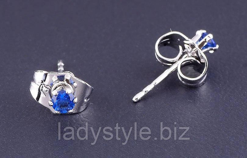 Серьги-гвоздики с  синими  фианитом от студии LadyStyle.Biz
