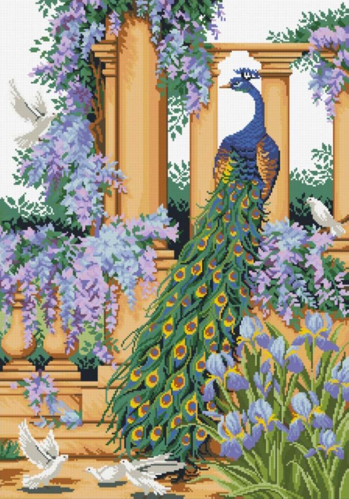 Алмазная мозаика Павлин в саду DM-295 40х60см Полная зашивка. Набор алмазной вышивки. Птицы, животные, пейзаж