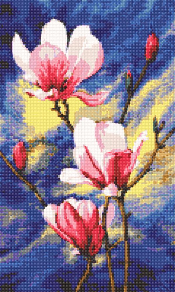 Алмазная мозаика Розовые магнолии DM-323 30х50см Полная зашивка. Набор алмазной вышивки цветы