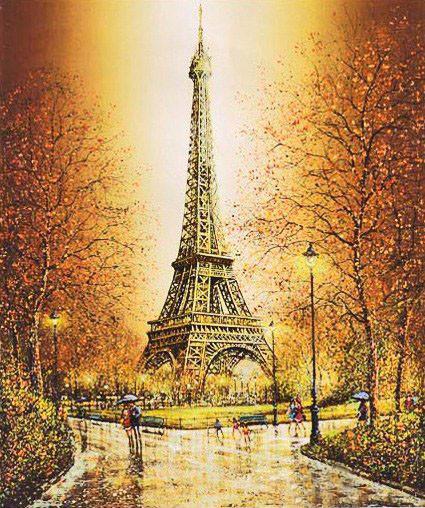 Алмазная мозаика Осень в париже 40x50см DM-257 Полная зашивка. Набор алмазной вышивки