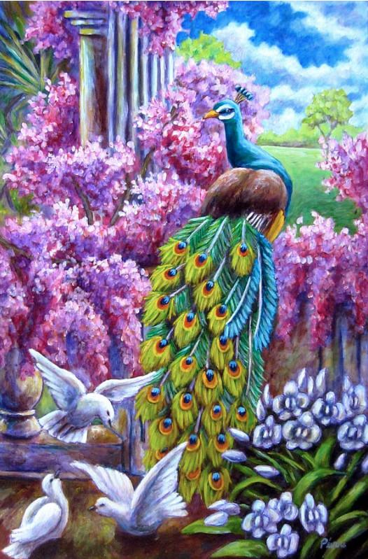 Алмазная мозаика Павлин и голуби DM-302 40х60см Полная зашивка. Набор алмазной вышивки. Птицы, животные