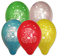 """Воздушные шарики пастель шелкография Мишка Тедди 10"""" (25 см)"""