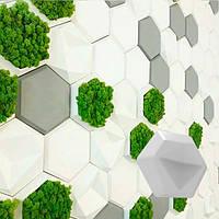 """Гипсовые декоративные 3Д панели на стену """"Серия соты"""" под мох 248 × 214 мм"""